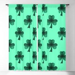 Emerald green shamrock clover sparkles Blackout Curtain