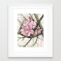 cherry blossom Framed Art Prints featuring Cherry Blossom by Olechka