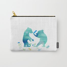 Playing bear kids- Watercolor animal illustration Carry-All Pouch