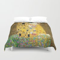 klimt Duvet Covers featuring Gustav Klimt The Kiss by Art Gallery