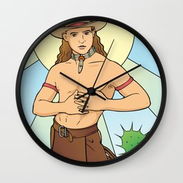 Demure Cowboy Love Wall Clock