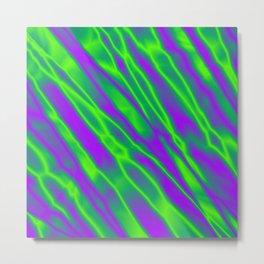 Shiny plaid metal with green intersecting diagonal lines. Metal Print