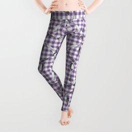Utensils on Violet Picnic Blanket Leggings
