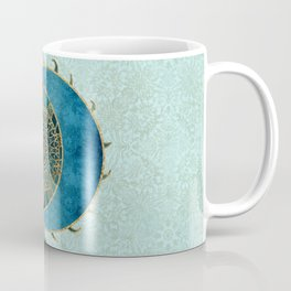 Sun And Moon Universe Celestial Art Gold And Turquoise Coffee Mug