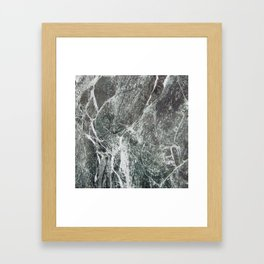 Black marble dark gray marble print with white vains real marble texture pattern natural rock Framed Art Print