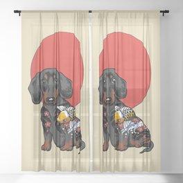 Yakuza Dachshund Sheer Curtain