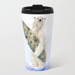 Polar bear & Surf (black) Travel Mug