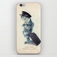 squid iPhone & iPod Skins featuring The Pilot by Eric Fan