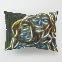 Mother and child neon glow - by Brian Vegas Pillow Sham