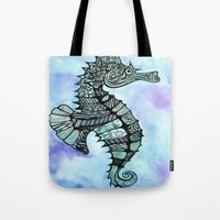tatoo Tote Bags featuring Tatoo Seahorse by PepperDsArt