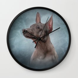 Drawing Xoloitzcuintle - hairless mexican dog breed Wall Clock