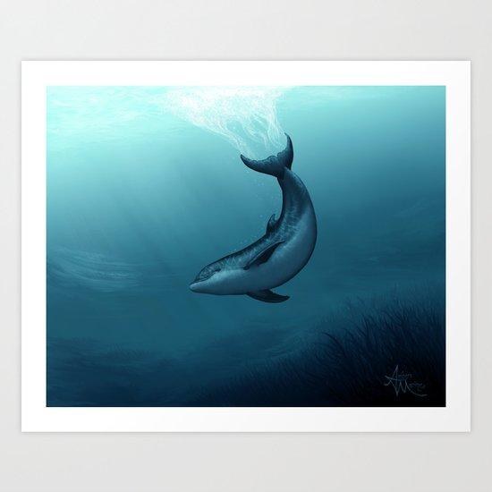 """Siren of the Blue Lagoon"" by Amber Marine ~ Dolphin Art, Digital Painting, (Copyright 2015) Art Print"