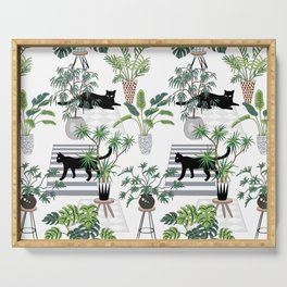 cats in the interior pattern Serving Tray