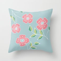 Pink floral placement on blue Throw Pillow