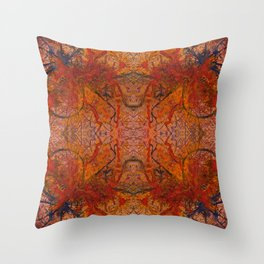 Branches Aflame with Flower Throw Pillow