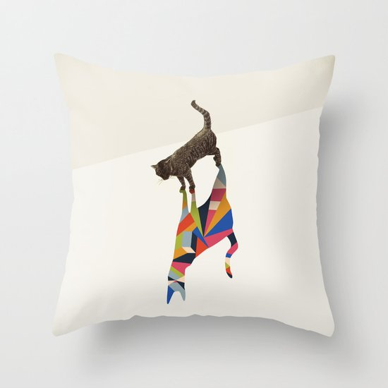 Walking Shadow, Cat Throw Pillow