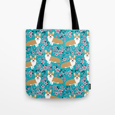 Welsh Corgi cherry blossoms dog portrait custom dog art spring floral dog pattern pet friendly Tote Bag