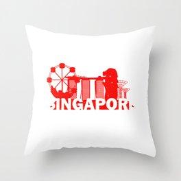 Singapore Traveller Flag Souvenir Throw Pillow
