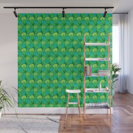 William Morris Chrysanthemums, Lime Green & Aqua Wall Mural