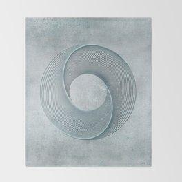 Geometrical Line Art Circle Distressed Teal Throw Blanket