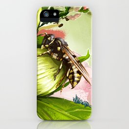 Wasp on flower 6 iPhone Case