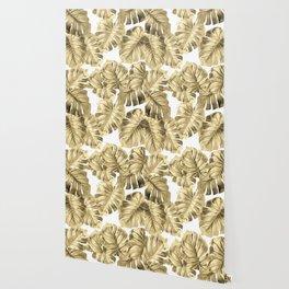 Gold Monstera Leaves on White 2 Wallpaper