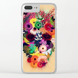 skull of flowers Clear iPhone Case