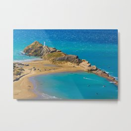 White lighthouse, location - Castlepoint, New Zealand Metal Print