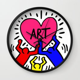 "Keith Haring inspired ""I Love Art"" Primary Colors edition Wall Clock"