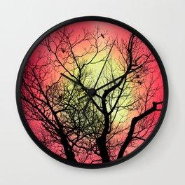 Red Sky At Dawn Wall Clock