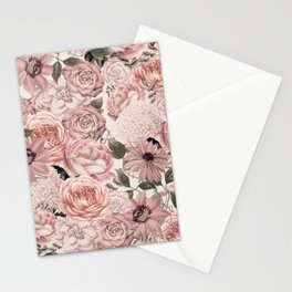 Vintage Floral Allover In Peach Pastels Stationery Cards
