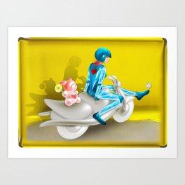 Time Bunny Girl and Love Robo Art Print