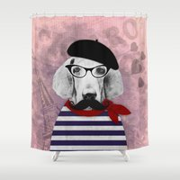 pooh Shower Curtains featuring Doggy the Pooh loves Paris! by cafelab