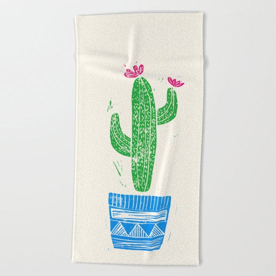 Linocut Cacti #2 in a pot Beach Towel