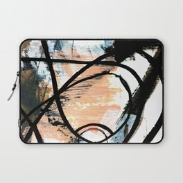 It comes and goes - a black and white abstract mixed media piece with pink details Laptop Sleeve