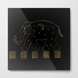 Golden elephant in the city Metal Print