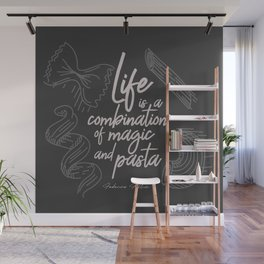 Federico Fellini on life, magic and pasta, inspirational quote, funny sentence, kitchen wall decor Wall Mural