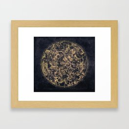Vintage Constellations & Astrological Signs   Yellowed Ink & Cosmic Colour Framed Art Print