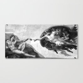 Black and White Creation of Adam Painting by Michelangelo Sistine Chapel Canvas Print