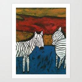 Zebra x 2 Art Print