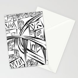 Town Circled By Roads Stationery Cards