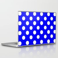 polka dots Laptop & iPad Skins featuring Polka Dots (White/Blue) by 10813 Apparel