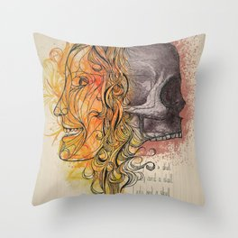 Lady and a skull Throw Pillow