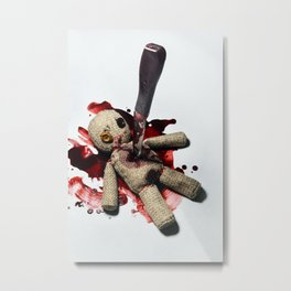 Sack Voodoo doll and bloody knife Metal Print