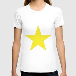 Yellow star on white T-shirt