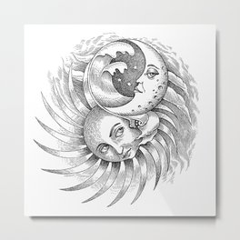 Moon and Sun Metal Print