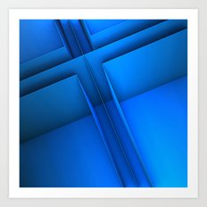 Clean Lines (Blue) Art Print