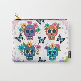 Floral Sugar Skulls Carry-All Pouch