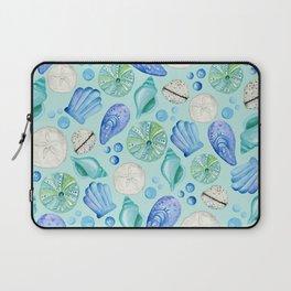 Aqua Seashells Down By The Seashore Laptop Sleeve
