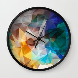 Blue yellow turquoise polygon Wall Clock